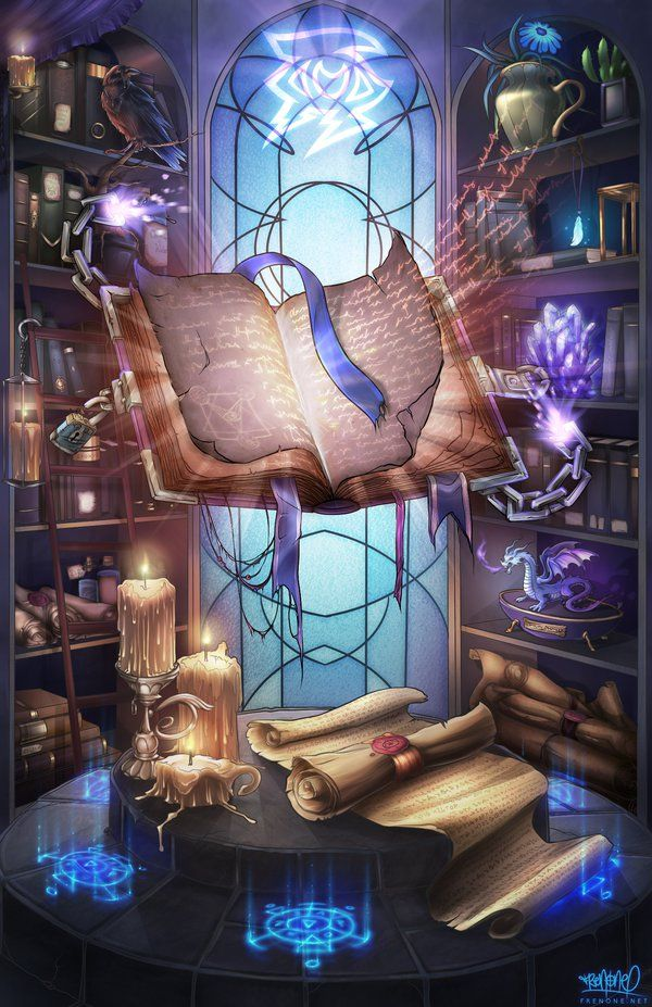 "Based on the ""mage"" class from World of Warcraft. A library with all kinds of peculiar items and a floating spellbook bursting with magical powers. Commissioned by Cirai / Cinderluna on Twitter."