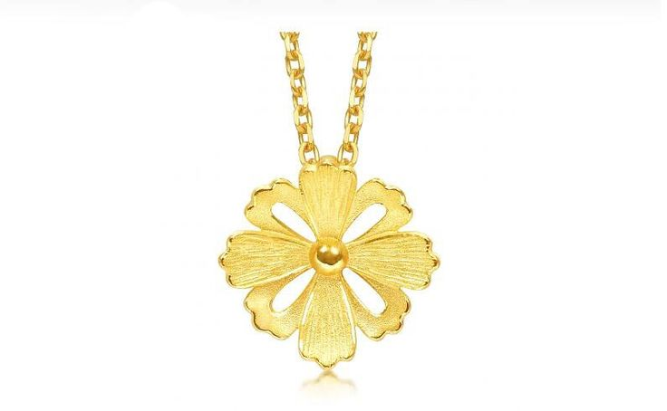 Authentic 999 24K Yellow Gold Galsang Flower Pendant Lady's Pendant 1.36g