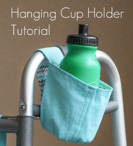 Portable Hanging Cup Holder - Instead of trying to carry your drink while your hands are full, you can attach this DIY cup holder with ease. The nifty Velcro strap and sturdy fabric hold your drink in place while you're on the go.