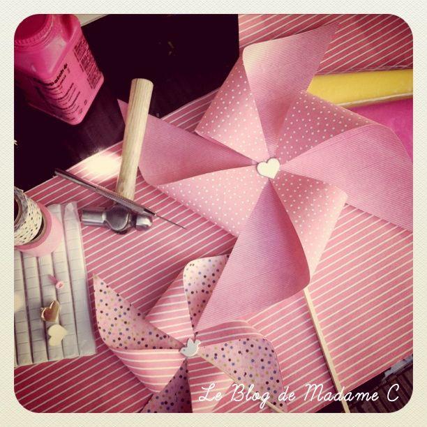 Tutoriel moulin à vent  le blog de madame C. A disposer devant chaque allée ceremonie laïque + dans les parterres.
