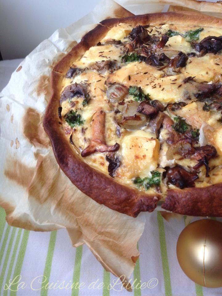 Tarte champignons oignons reblochon2