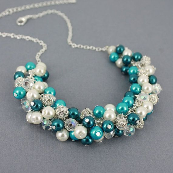 Teal and Turquoise Cluster Necklace Teal by DaisyBeadzJoaillerie