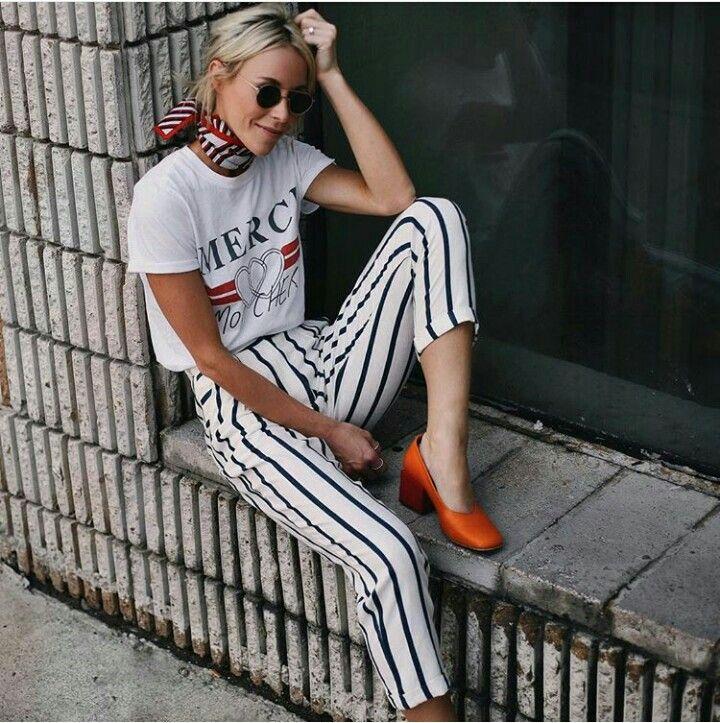 striped pants with orange block heels