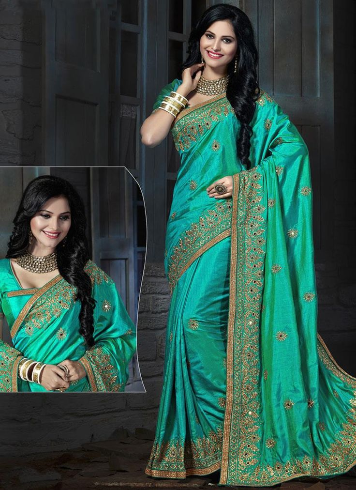 Shop online for sarees and wedding sarees. Buy this art silk sea green embroidered and patch border work traditional  saree.