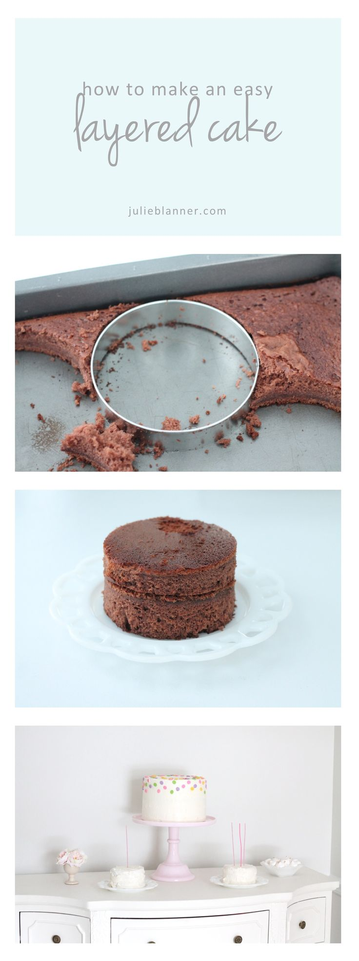 Click here to learn how to make an easy layered cake - a step by step tutorial for beginners