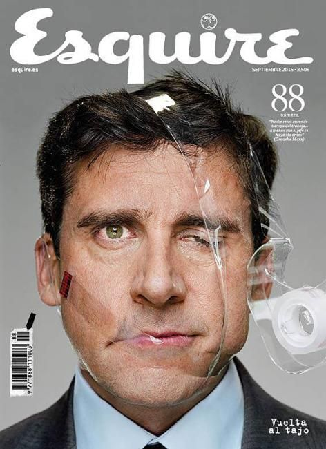 In this ad Steve Carrell is being who he is, funny. For the audience who may not know him, they will at least know he is humorous because of the picture.