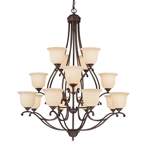 Millennium Lighting Courtney Lakes Rubbed Bronze Six Light Chandelier With Turinian Scavo Glass On