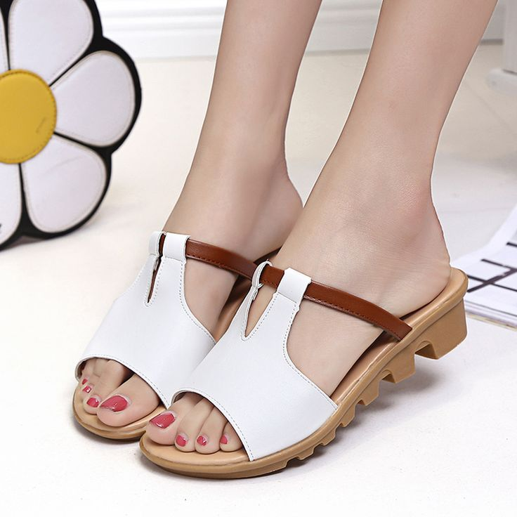 with mastercard for sale TOP WO NEW slippers leather embossed palm pattern flat word non-slip sandals and slippers summer female with heel in the sand buy cheap latest low price cheap online OD9RA5owYy