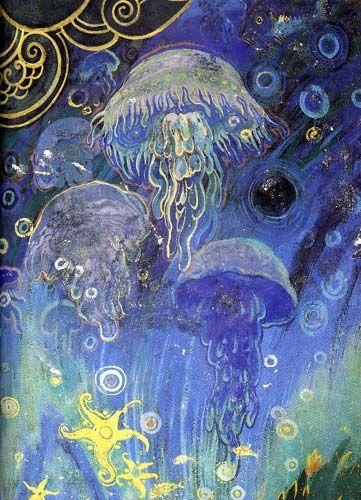 Jellyfish fresco by Galileo Chini at the Palazzo dei Congressi, Salsomaggiore Terme, Italy.
