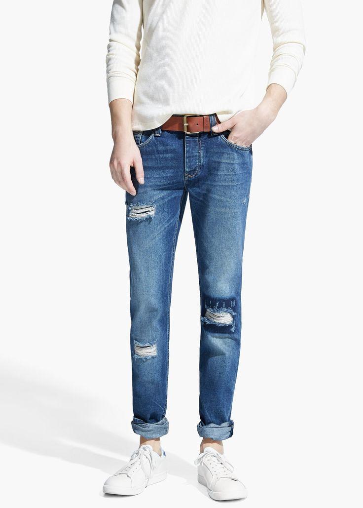 Jeans steve slim-fit lavagem escura -  Homem   OUTLET Portugal
