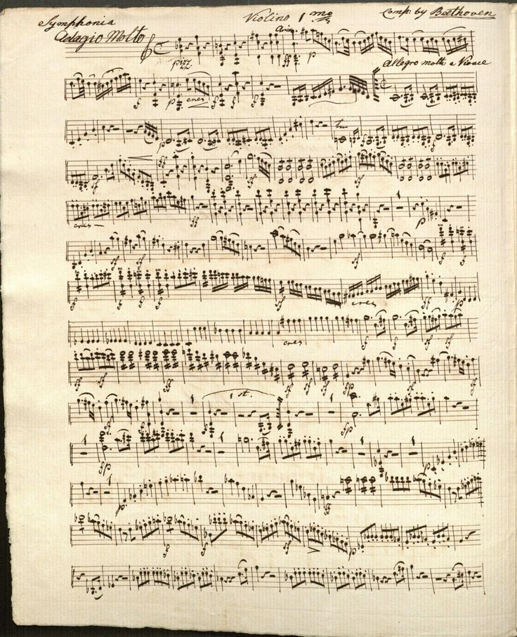 a manuscript copy of Beethoven's Symphony no. 1, part of music for the Duke of Cumberland's band.  Beethoven composed his first symphony during 1799-1800, and the work was  first performed and published, in parts, in 1800.