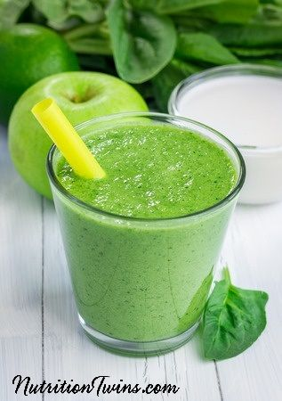 """Healthy Green Detox Smoothie   Flush Bloat   Only 73 Calories   Perfect Morning Boost &""""Detox""""   For Nutrition & Fitness Tips & RECIPES please SIGN UP for our FREE NEWSLETTER www.NutritionTwins.com"""