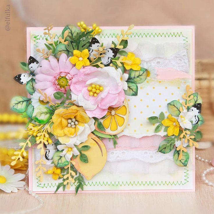 Открытка скрапбукинг с цветами в горошек, открытки