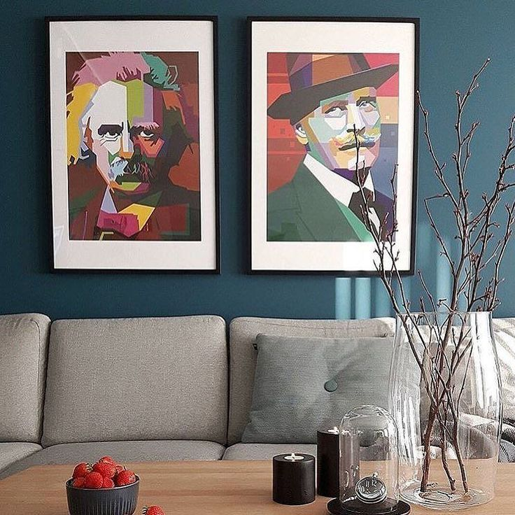 Den musikalske Edvard Grieg og kjekke Knut Hamsun henger flott i denne stuen som er stylet av @zaras_home Så fint!