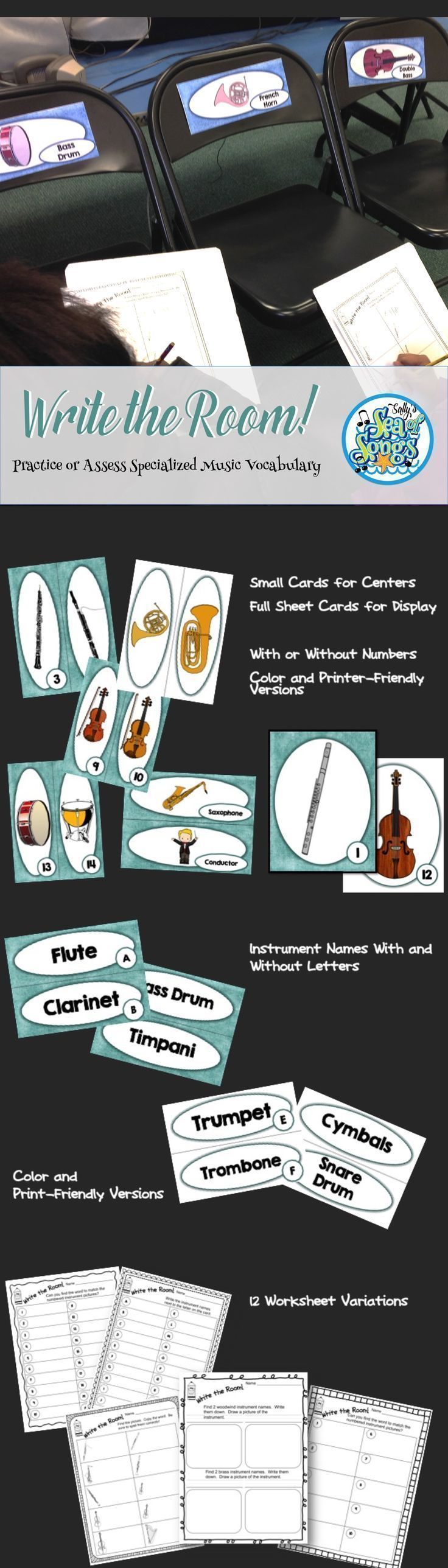 A set 20 orchestral instruments and their name labels, formatted in various ways to allow for a variety of options! Instrument cards with labels may be displayed as a permanent part of your music room decor. Use small cards in a center or large cards for