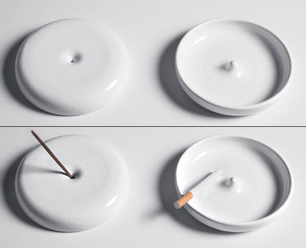 Ashes To Ashes : A ceramic bowl that is an ashtray on one side, flip it, and it becomes and incense stick holder. One spreads odors, the other fragrance.