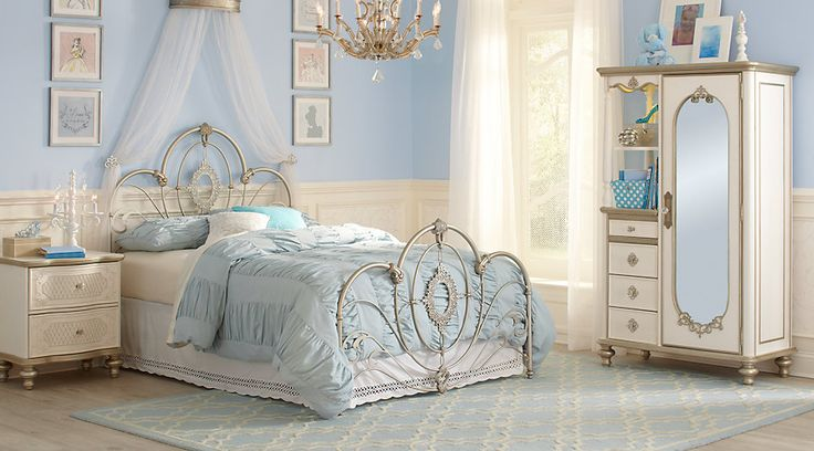 picture of Disney Princess Enchanted Kingdom Iron 4 Pc Twin Panel Bedroom from  Furniture