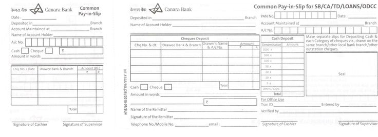 canara bank deposit slip Bank Deposit Slips Pinterest Bank - payment advice slip