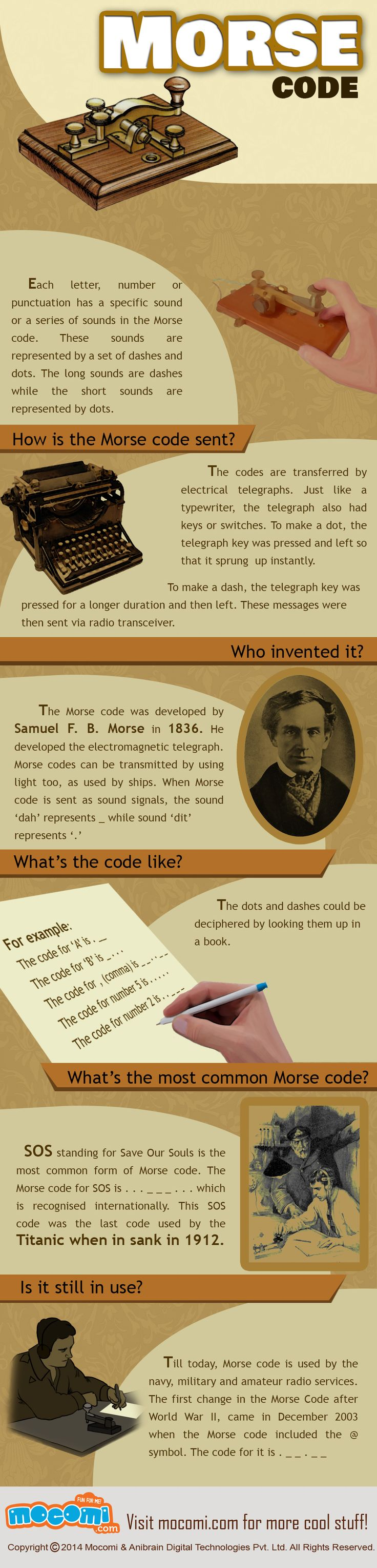 Morse Code -  It was developed by Samuel F. B. Morse in 1836. Here the codes are transferred by electrical telegraph.