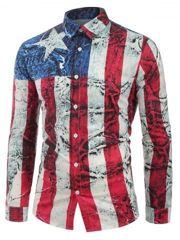 Long Sleeves Distressed American Flag Print Button Shirt
