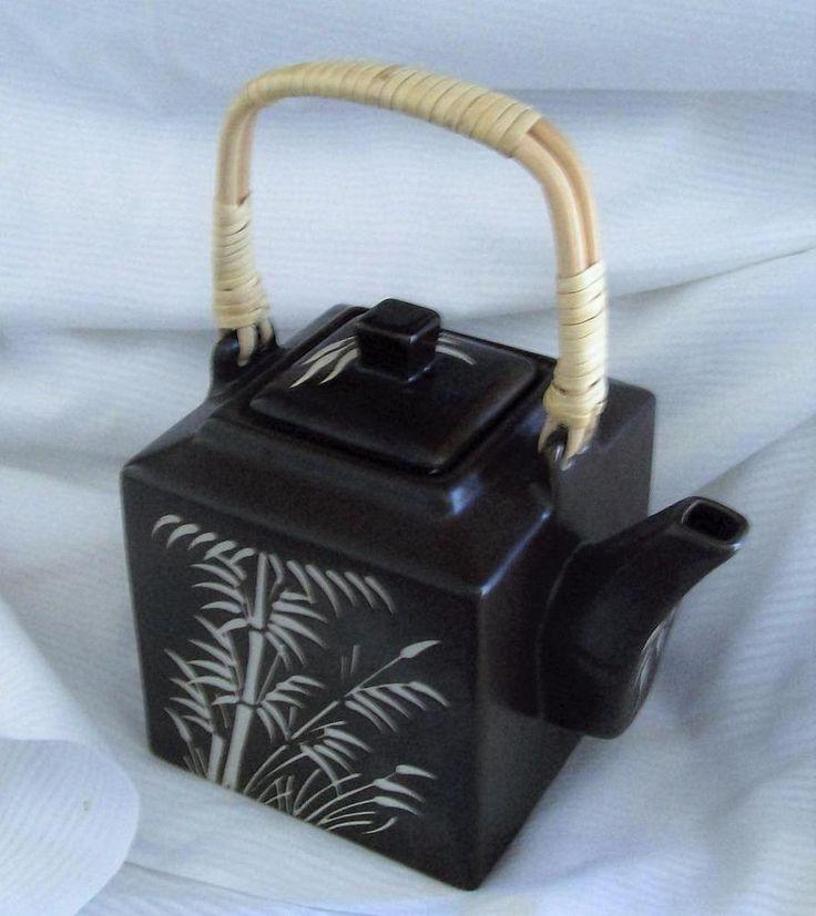 Brown Ceramic Tea Pot Asian Design Zazen Stoneware Wood and Rattan Handle