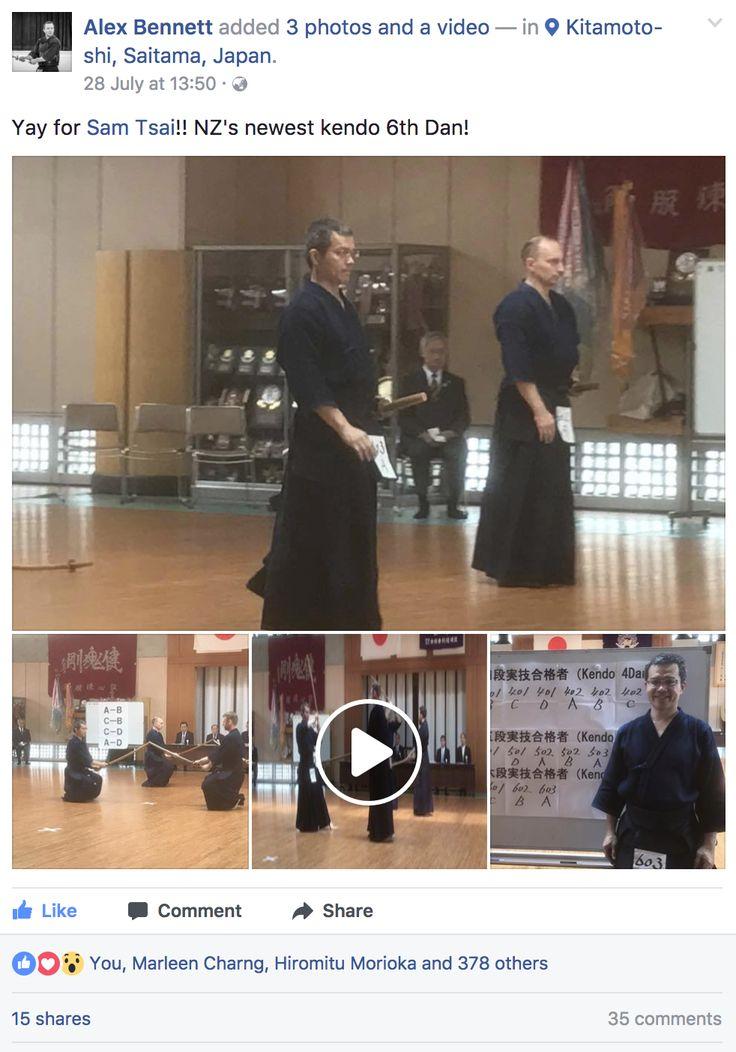 Gyazo - (1) Alex Bennett - Yay for Sam Tsai!! NZ's newest kendo 6th Dan!