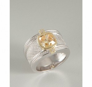 canary crystal and diamond crosshatched ring $378