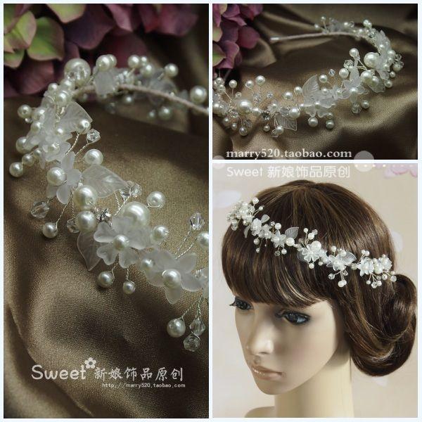 Оригинальные корейские ручной кристалл жемчуг ленты для волос свадебный головной убор цветок голову повязку Crown замуж волосы пряжи с аксессуарами - Taobao