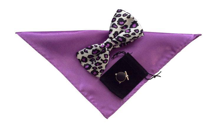11.19$  Watch here - http://viold.justgood.pw/vig/item.php?t=nrlhmf13841 - Uomo Eleganti Cravatta a Farfalla, E Gemelli Per Camicia Set Viola Leopardato 11.19$