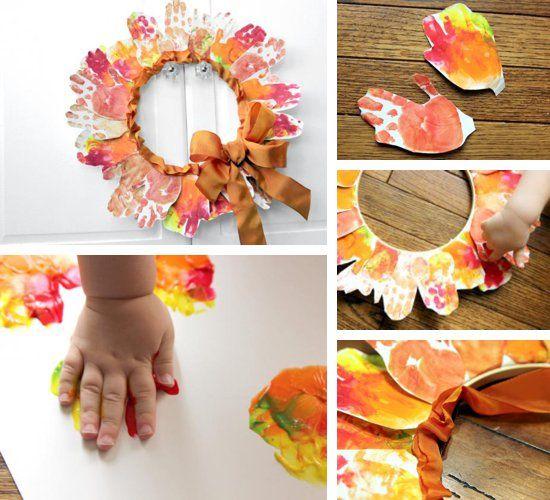 Leaf Hand-print Wreath by Melissa Klinker of Mama Miss