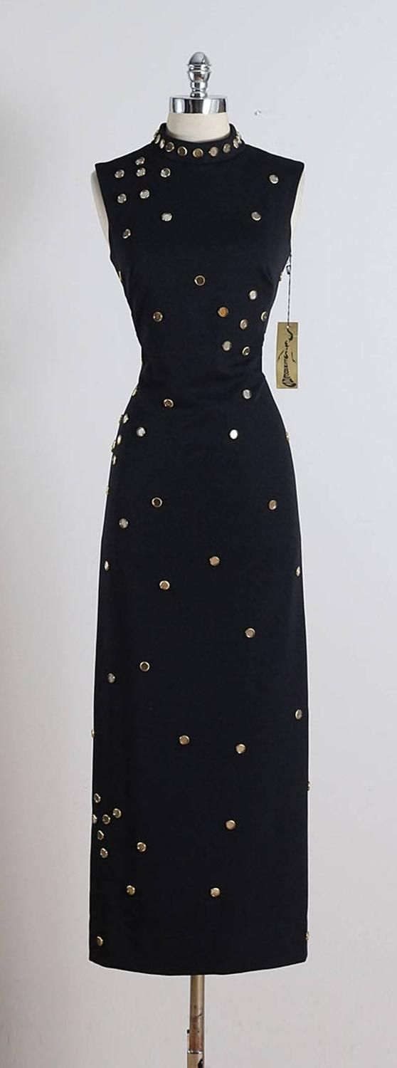 Vintage 1970s S. Eisenberg Jeweled Maxi Dress