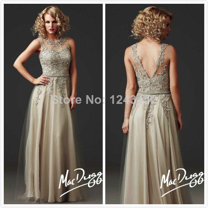 2014 Vestidos Women Summer Champagne Lace V Back Long Special Mother Of The Bride Groom Dresses For Beach WeddingDress