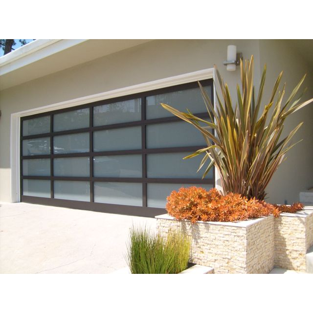 Glass panel aluminum frame waterproof garage doors