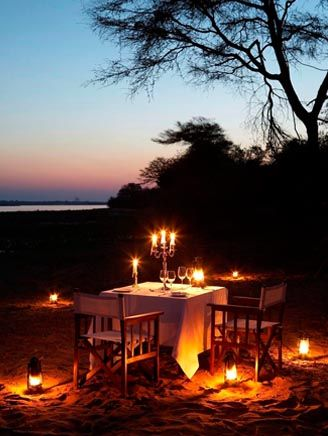 Candlelit dinner under the night sky - another shot from the Royal Zambezi Lodge