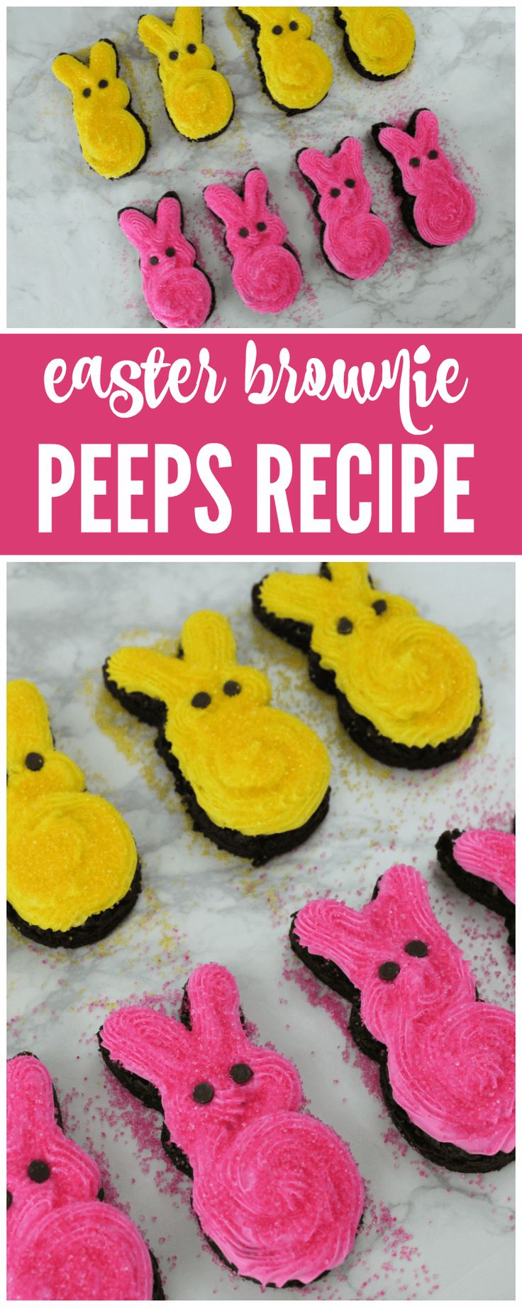 Easter Brownies Peep Recipe perfect for Class Parties, Easter Parties, Easter Desserts and more!