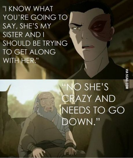 I think it's sad that Iroh and Ursa never really gave Azula a chance. They always chose Zuko.