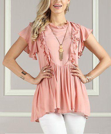ecf54935bbf Dusty Rose Ruffle-Tier Flutter-Sleeve Tunic - Women & Plus #zulilyfinds