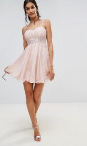 mini dress pink summer rantaki mini forema me leptomereies