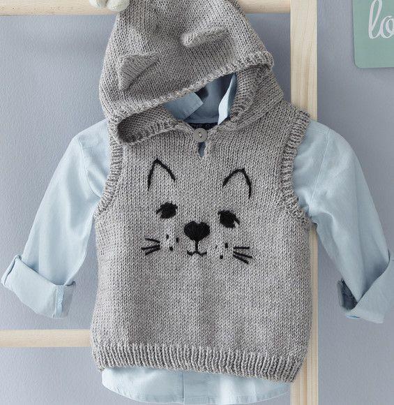 Modèle pull à capuche chat Layette - Modèles Layette - Phildar