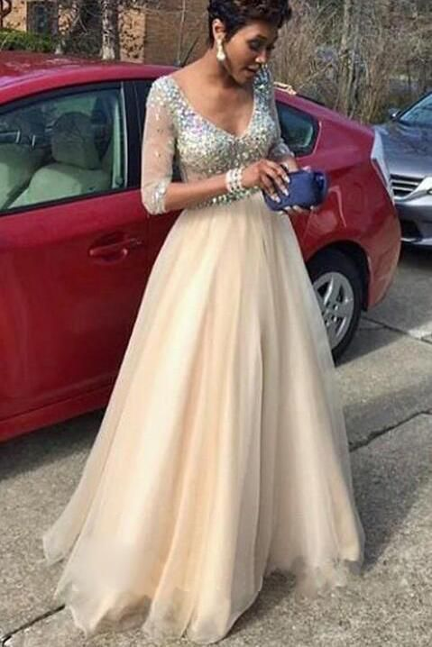 c4fa63a48006 A Line Princess V Neck Long Sleeves Beads Tulle Long Prom Dresses uk ...