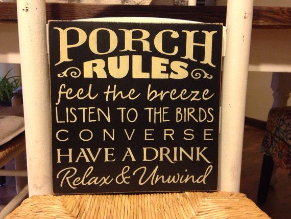 Porch Rules Sign, Porch Sign, Primitive, Rustic, Hand Painted, Wood Sign, Country Porch Sign on Etsy, $28.00