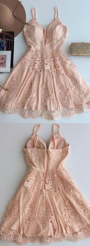 Champagne v neck lace short prom dress, homecoming dress – trendty
