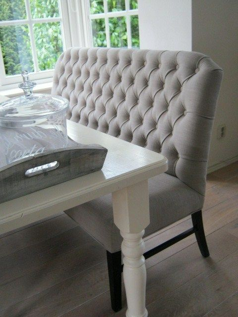 I like the idea of dining benches with backrests....would need a kid friendly fabric though...