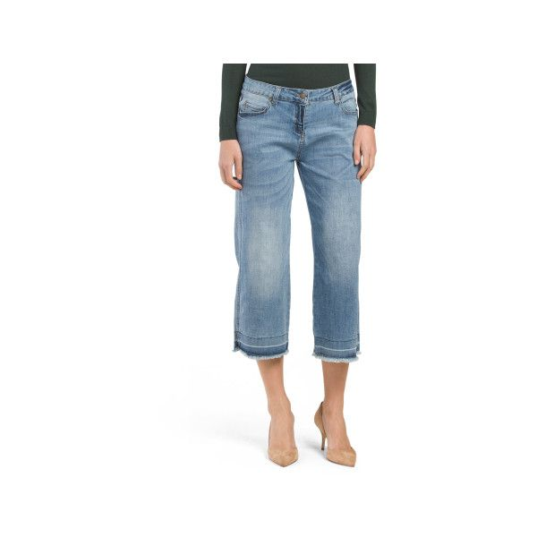 Denim Released Hem Culottes ($20) ❤ liked on Polyvore featuring pants, capris, blue pants, denim trousers, wide leg pants, cropped pants and wide leg denim pants