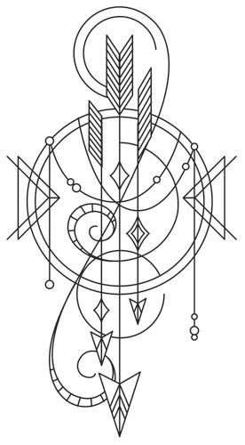 Long believed to contain magical properties ensuring good luck for the possessor, this beautifully draping talisman of arrows can adorn your wardrobe, home decor, and more! Downloads as a PDF. Use pattern transfer paper to trace design for hand-stitching.