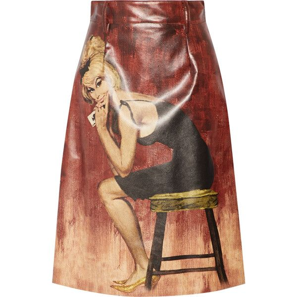 Prada Printed coated-cotton midi skirt found on Polyvore featuring skirts, claret, print midi skirt, shiny skirt, patterned midi skirt, colorful skirts and calf length skirts