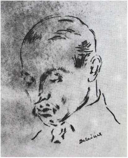 Portret Rilkego naszkicowany przez Baladynę Klossowską w Paryżu w roku 1925