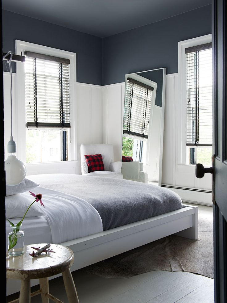 white walls until picture rail, dark blue ceiling, white woodwork