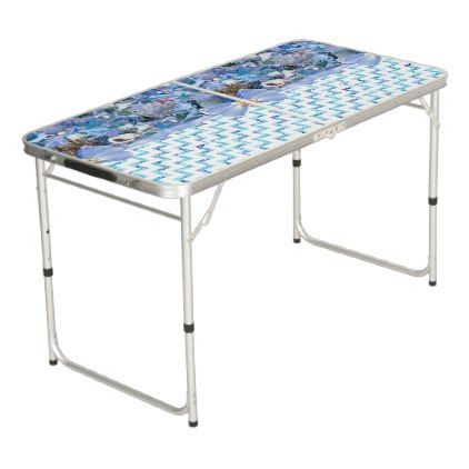 #Healing Seashells ZIg Zag Beer Pong Table - #beach #seashell #gifts #ocean #sea
