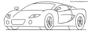Sports car 3/4 front view drawing